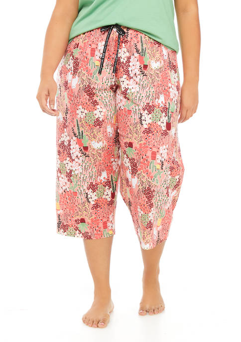 HUE® Plus Size Strawberry Bouquet Sleep Capris