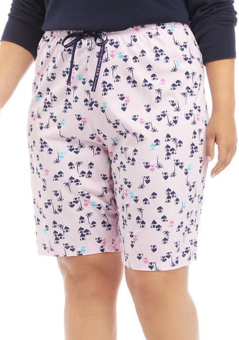 HUE® Plus Size Tiki Hut Classic Pajama Bermuda