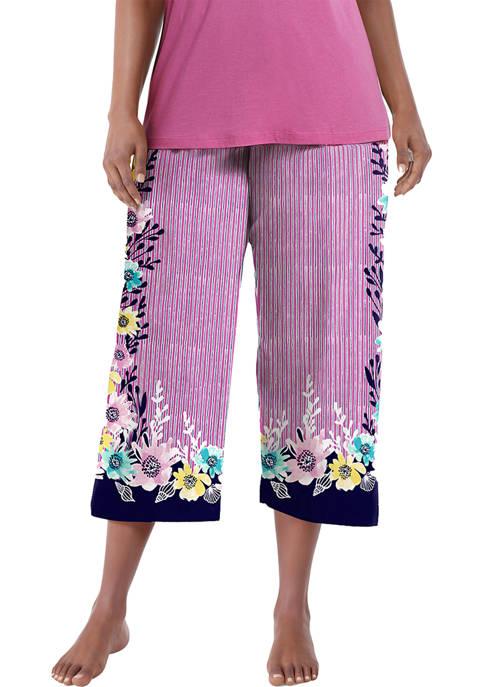HUE® Plus Size Seaflower Border Classic Capri Pajama