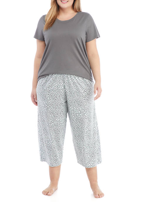 HUE® Plus Size Snow Leopard Pajama Set