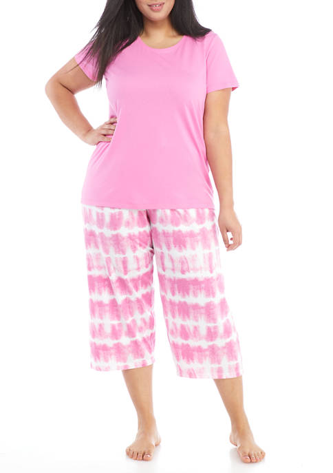 HUE® Plus Size Tie Dye Stripe Pajama Set
