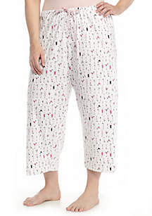 Plus Size Printed Capri Pant