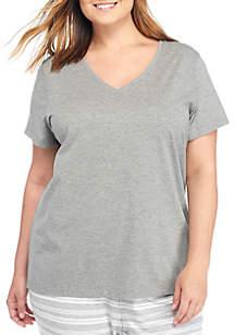 Plus Size Short Sleeve V-Neck Tee