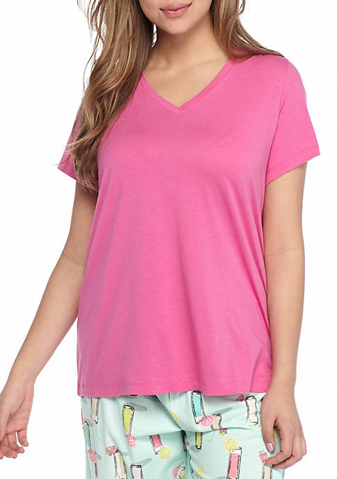 HUE® Plus Size Short Sleeve V Neck Sleep