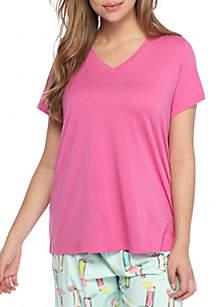 HUE® Plus Size Short Sleeve V Neck Sleep T Shirt