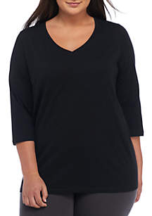 Plus Size Solid V-Neck 3/4 Sleeve T-Shirt