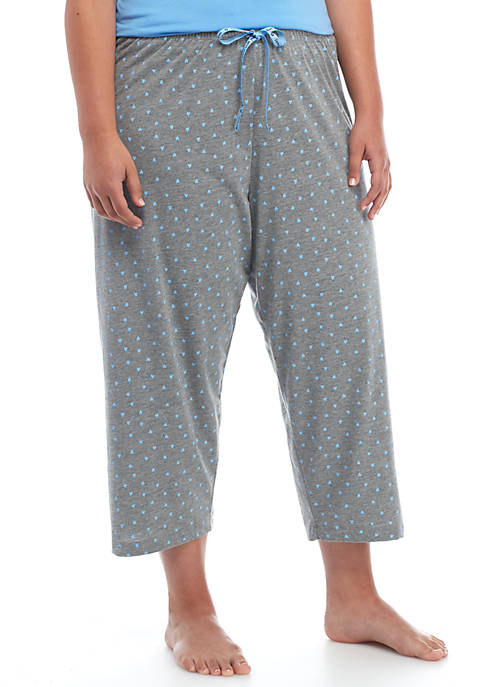 Plus Size Mini Scribble Capri Pajama Pant