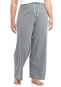 Plus Size Heart Print Pants