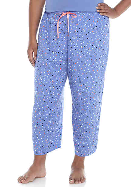 HUE® Plus Size Dot Delight Capris ...