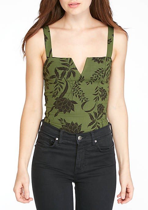 Free People Pippa V-Wire Print Bodysuit