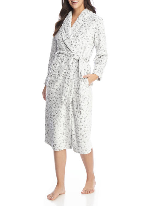 Kim Rogers® Animal Print Plush Folded Robe