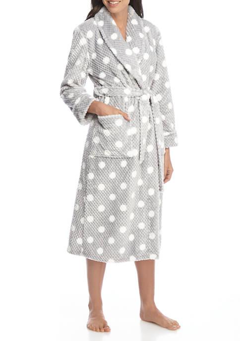 Kim Rogers® Womens Dotted Print Folded Robe