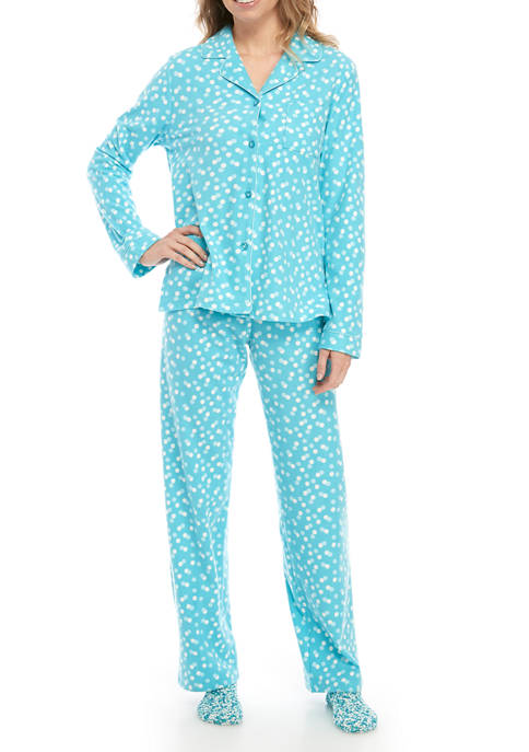 Kim Rogers® Womens 3 Piece Micro Fleece Dot