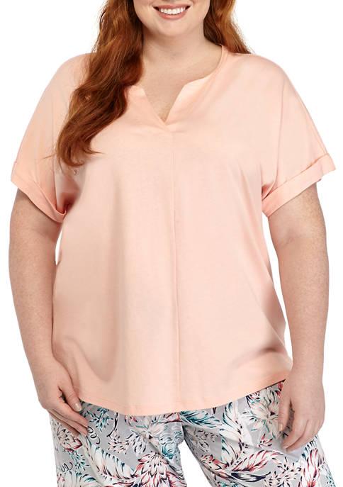 Plus Size Split Neck Sleep Shirt
