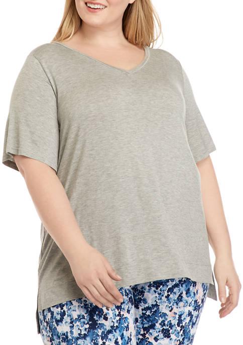 Plus Size Short Sleeve V-Neck Pajama Top