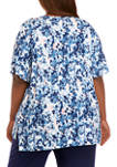 Plus Size Short Sleeve V-Neck Printed Pajama Top