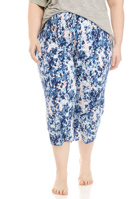 Plus Size Printed Capri Pajama Pants