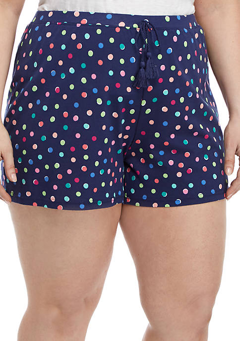 Plus Size Print Sleep Shorts