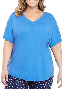 New Directions® Plus Size Drop Shoulder Henley Sleep Top