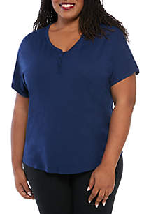 New Directions® Plus Size Henley Pajama Top