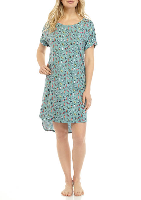 New Directions® Roll Cuff Sleep Shirt Dress
