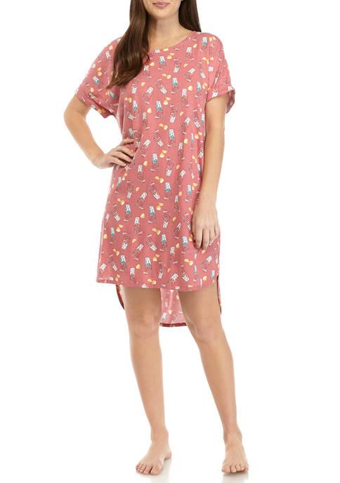 Roll Cuff Sleep Shirt Dress
