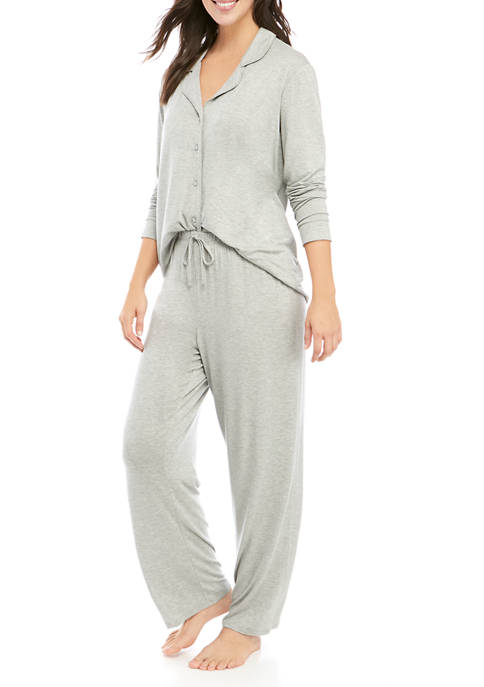 New Directions® 2 Piece Notch Collar Pajama Set