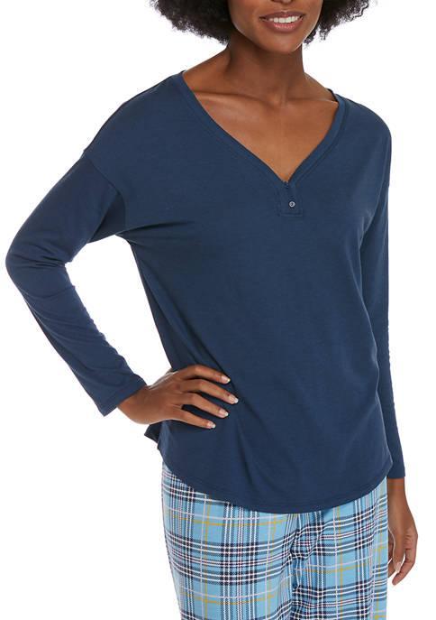 3/4 Sleeve Henley Neck Sleep Shirt