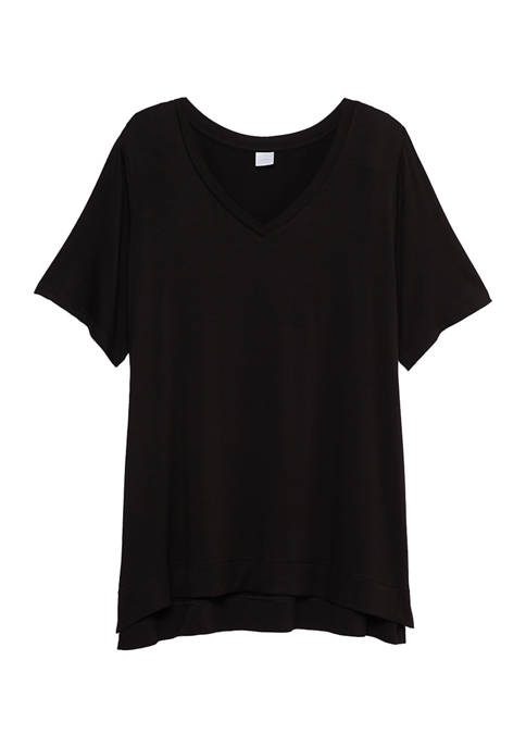 New Directions® Womens Short Sleeve V-Neck Sleep Top