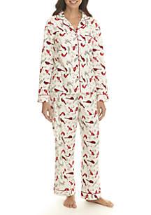 2-Piece Notch Collar Pajama Set