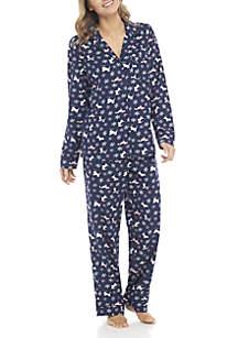 2-Piece Button Down Winter Dog Pajama Set