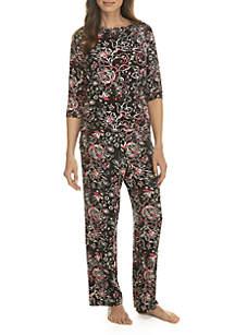 3/4 Sleeve Keyhole Pajama Set