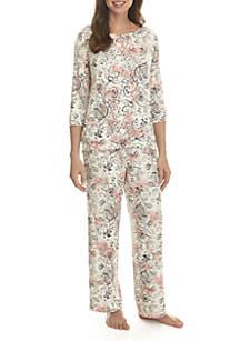 5c6905609e ... New Directions® 3 4 Sleeve Keyhole Pajama Set
