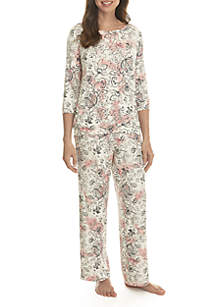 f4eedd1496 ... New Directions® 3 4 Sleeve Keyhole Pajama Set