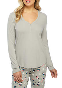 New Directions® Long Sleeve Henley Top