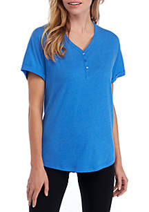 New Directions® Drop Shoulder Henley Sleep Top
