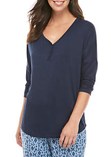New Directions® Drop Shoulder Henley Sleep Shirt