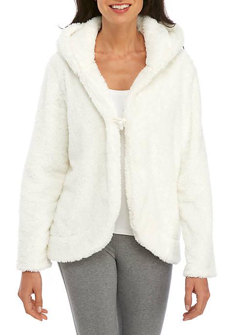 Crown & Ivy™ Hooded Sherpa Cardigan