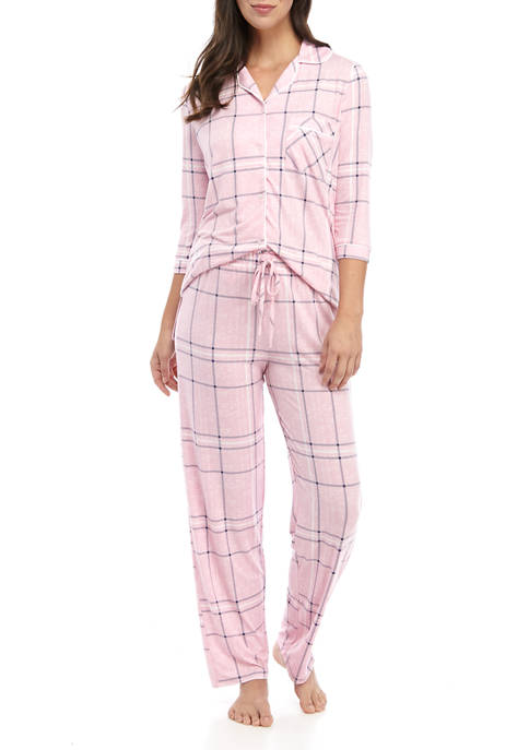 Womens Lush Luxe Notch Collar Pajama Set