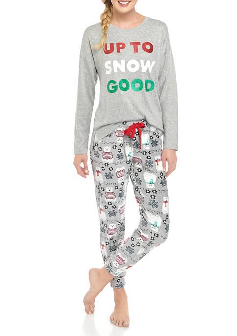 Womens 2 Piece Velour Joyland Pajama Set