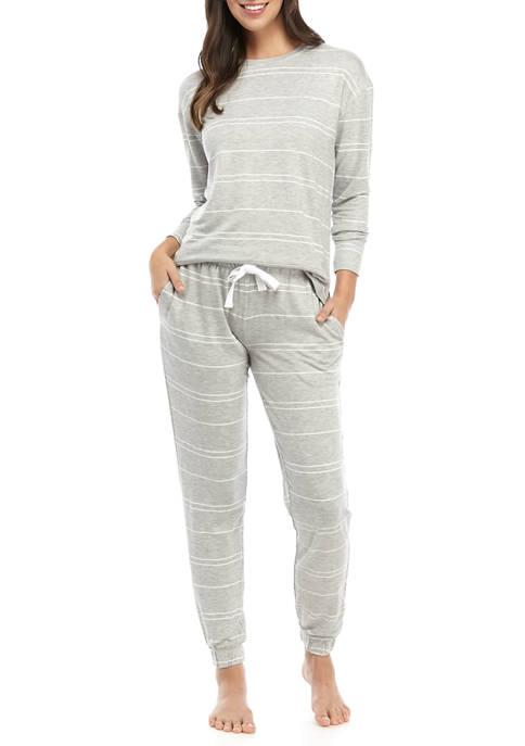 Womens Long Sleeve Pajama Shirt with Slim Pants