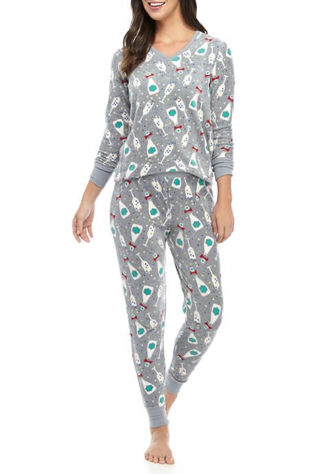 Womens 2 Piece Henley Pajama Set