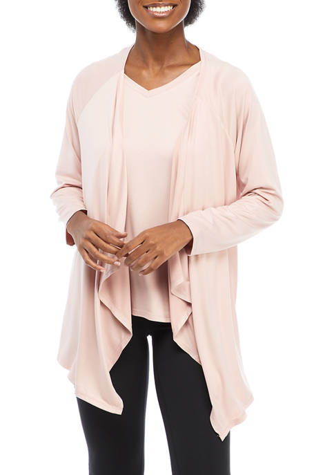 New Directions® Womens Long Sleeve Cardigan Tank Top