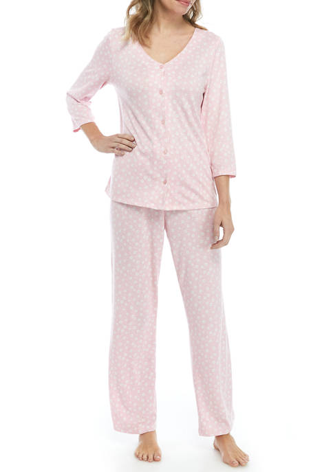 Kim Rogers® Womens Button Down Pajama Set