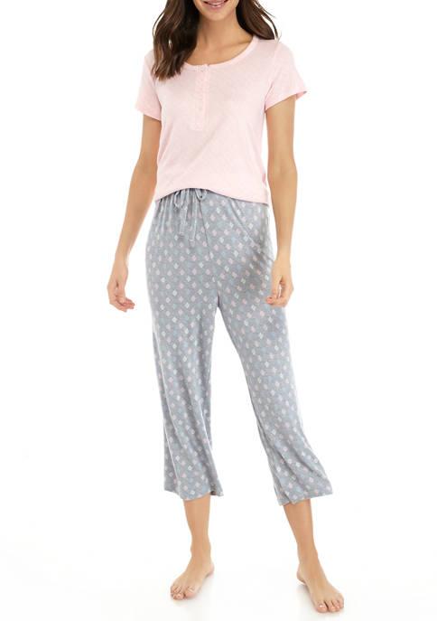 Kim Rogers® 2 Piece Whisper Henley Pajama Set