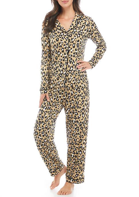 Kim Rogers® Whisper Printed Long Sleeve Notch Pajama