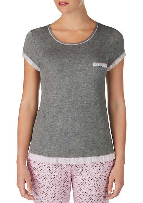 Layla® Short Sleeve Ruffle Trim Top
