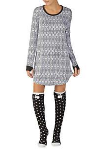 Jersey Sleepshirt with Socks