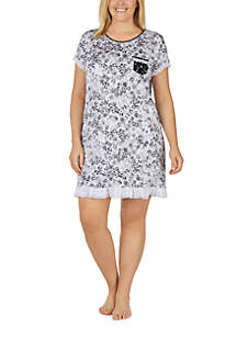 Plus Size Short Sleeve Ruffled Sleepshirt