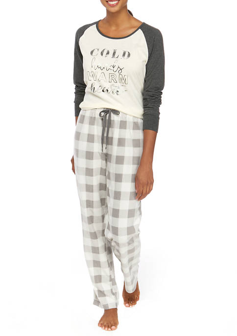 Joyland Womens Ivory Cozy 2 Piece Pajama Set